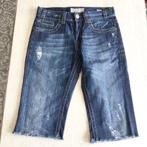 MEK Cropped Pants Size 30 Distressed Blue Womens